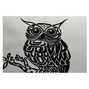 Jaqueline Bird Print Off White - Black Indoor/Outdoor Area Rug by Ebern Designs 2019 Coupon