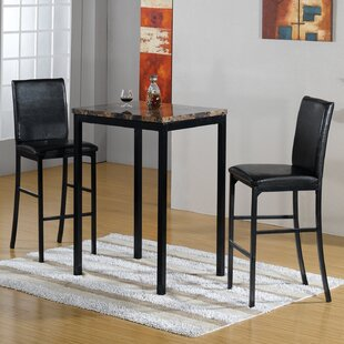 Della 3 Piece Bistro Pub Table Set Hazelwood Home