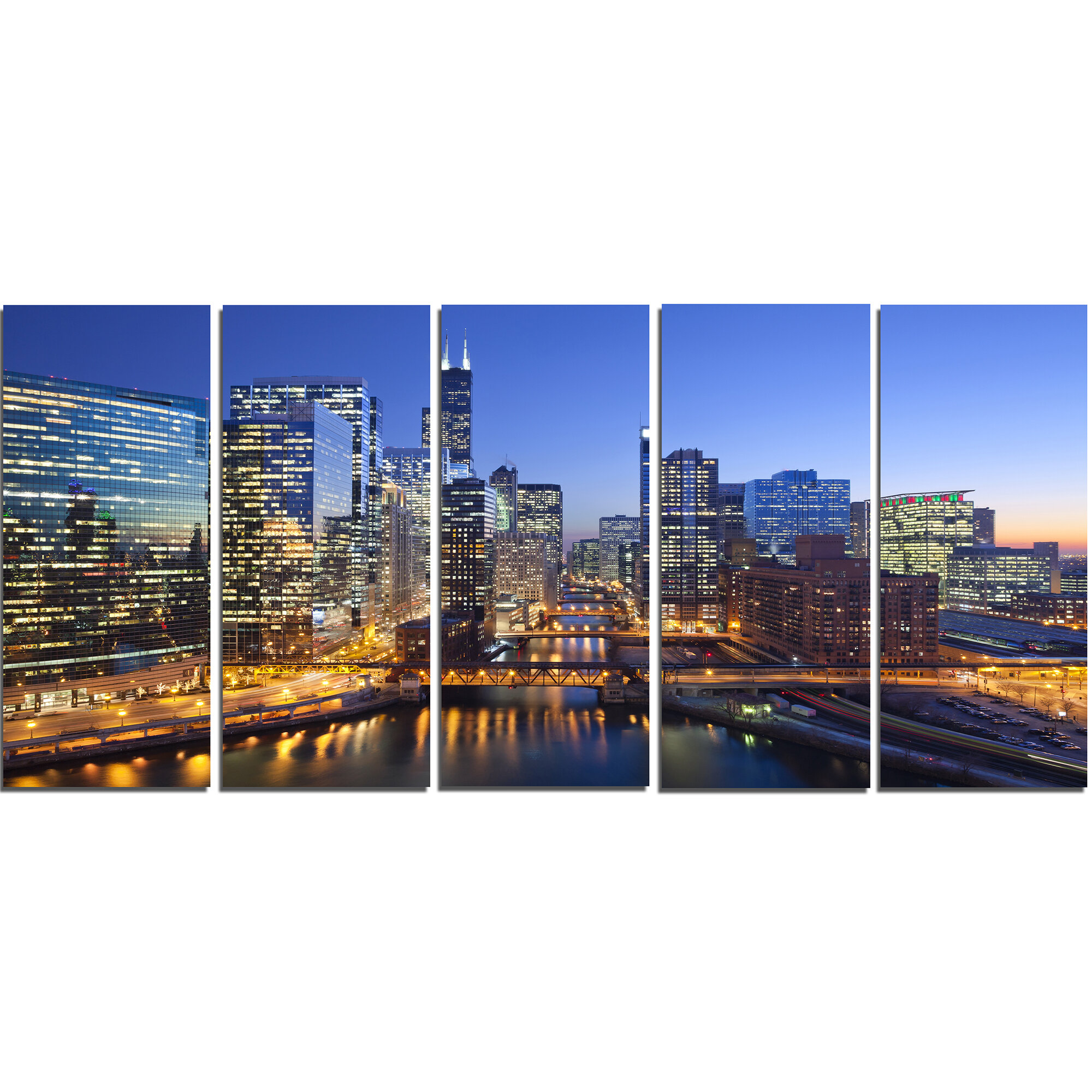 Designart Chicago River With Bridges At Sunset 5 Piece Photographic Print On Wrapped Canvas Set Wayfair