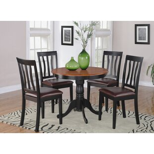 Woodward 5 Piece Solid Wood Dining Set by Three Posts