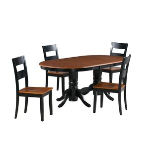 August Grove Dahlberg 5 Piece Extendable Solid Wood Dining Set