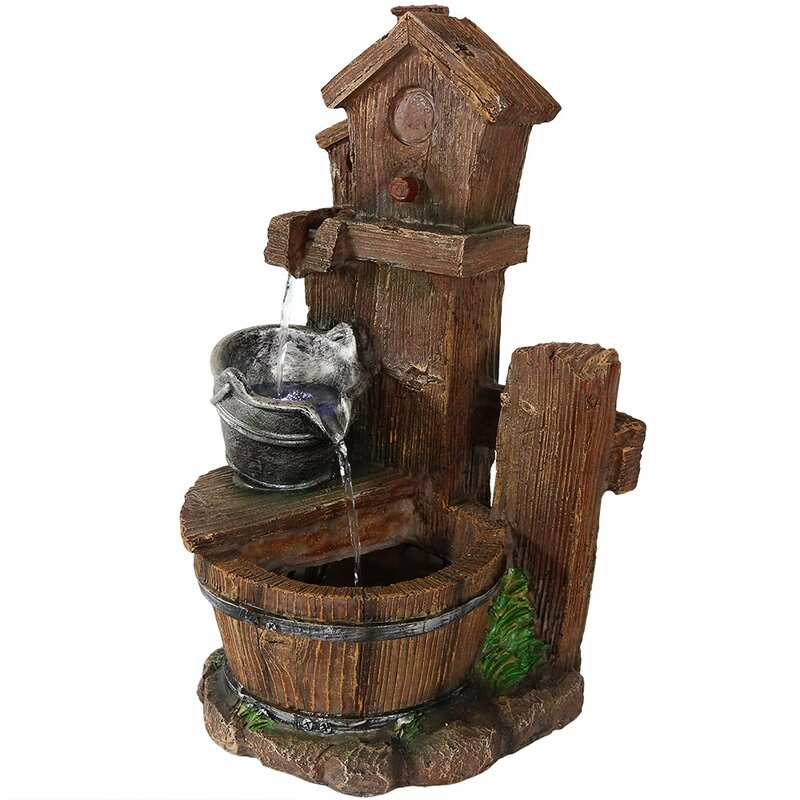 SunnyDaze Decor Birdhouse and Bucket Indoor Tabletop Water ...