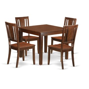 Cobleskill 5 Piece Solid Wood Dining Set by Alcott Hill
