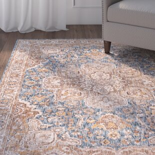 Matteson Traditional Navy/Orange Area Rug by Three Posts