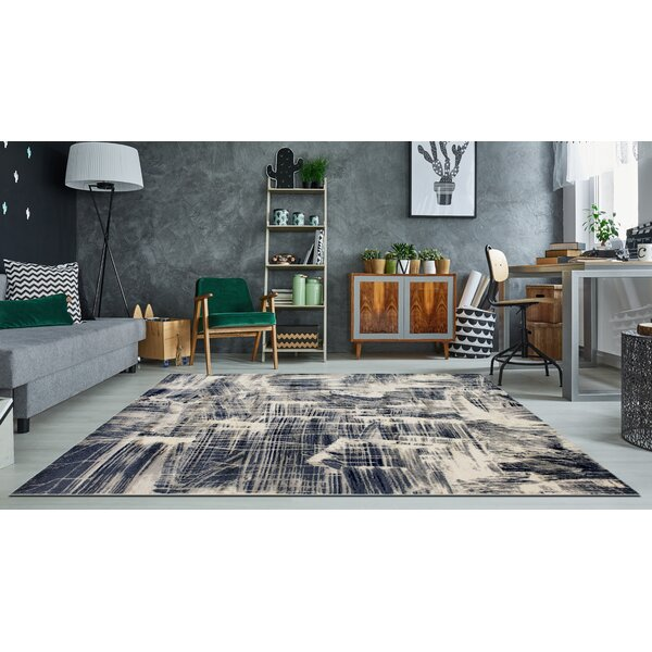17 Stories Kelson Abstract Navy Beige Area Rug Reviews Wayfair