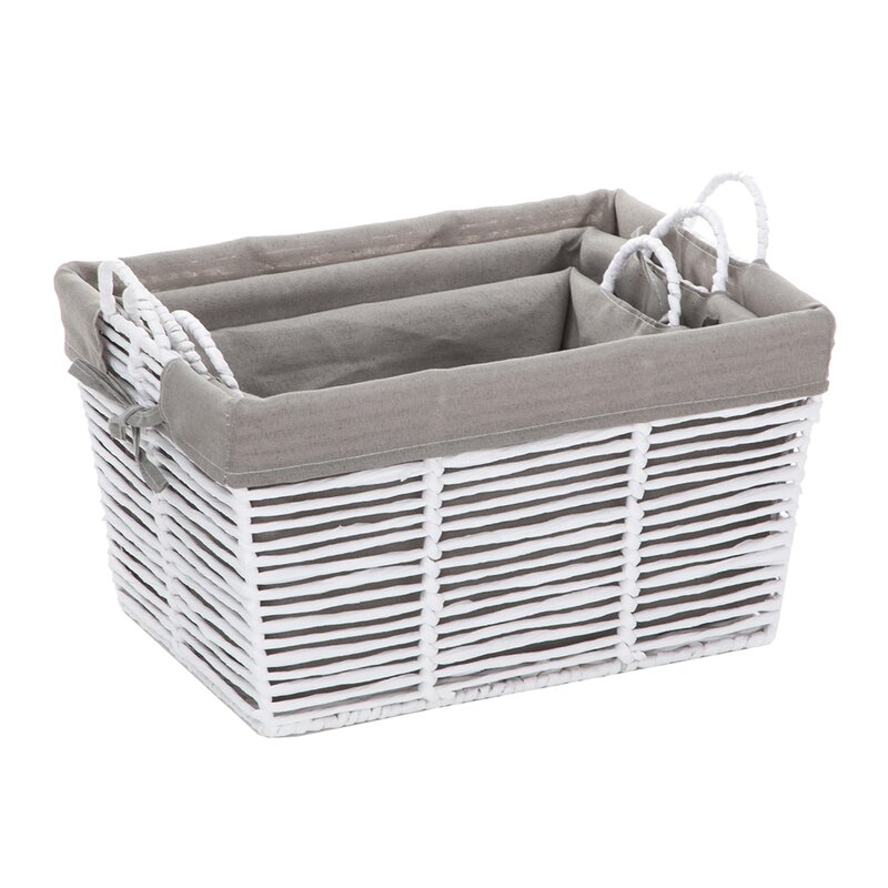 Multi-Color Blossom Bucket Set of 3 RECTANGLULAR Fabric MESH Baskets with Handles Decoration