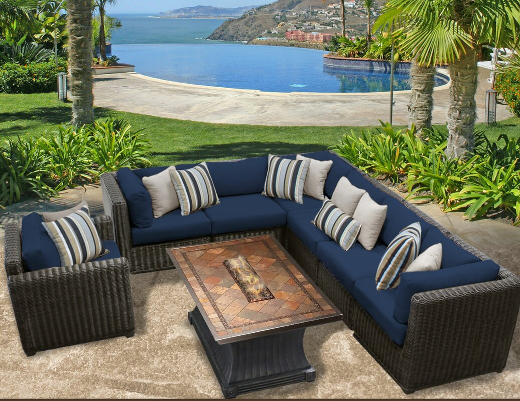 Venice Outdoor Wicker Patio 8 Piece Fire Pit Seating Group With Cushion