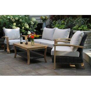 Halesworth 4 Piece Wicker Teak Sofa Seating Group with Sunbrella Cushions