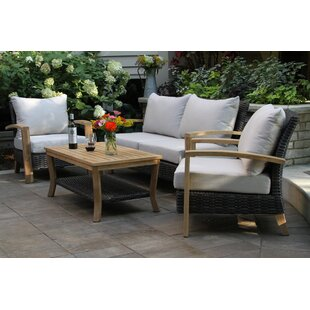 Halesworth Wicker Teak Sofa Seating Group with Sunbrella Cushions