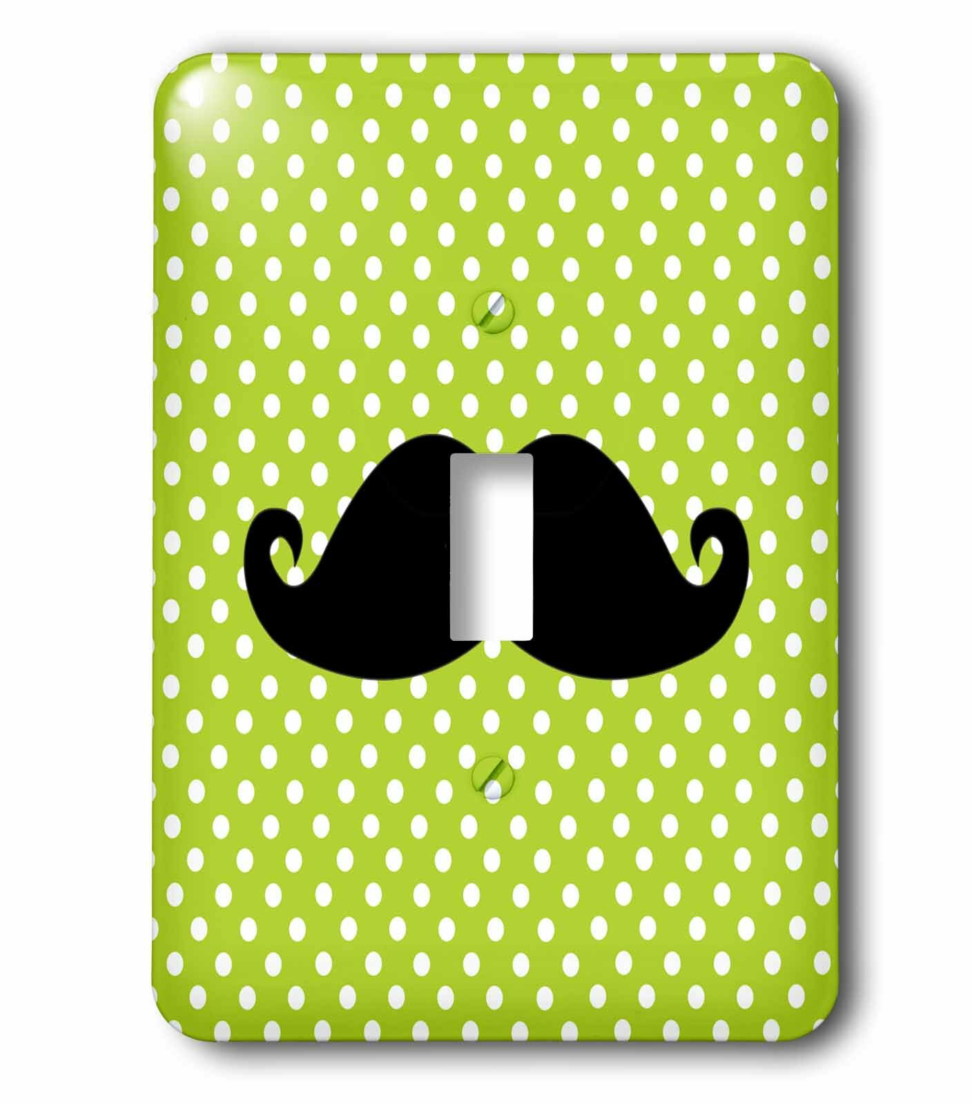 3drose Funny Mustache On Polka Dots 1 Gang Toggle Light Switch Wall Plate Wayfair