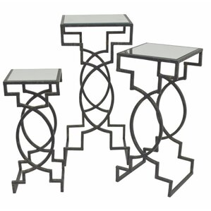 Demetri Mirror Top 3 Piece Nesting Tables by Bloomsbury Market
