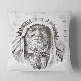 Portrait Native American Indian Pillow