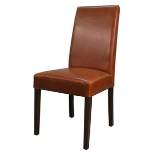 Mercado Genuine Leather Upholstered Dining Chair (Set of 2) Latitude Run