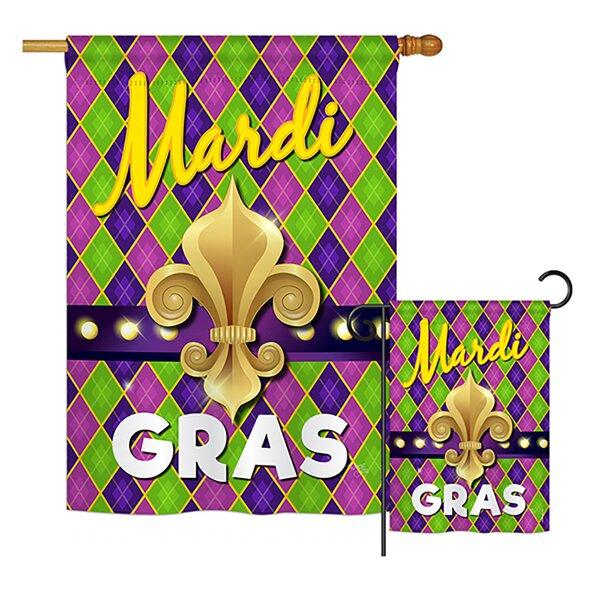 Mardi Gras Fleur De Lys Spring Impressions 2-Sided Polyester Flag Set