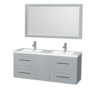 Olivia 60 Double Dove Gray Bathroom Vanity Set with Mirror By Wyndham Collection