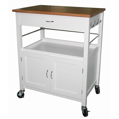 Andover Mills Kibler Kitchen Island Cart with Natural Butcher Block Bamboo Top Base Finish: White
