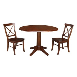 Atoll Round Top 3 Piece Drop Leaf Solid Wood Dining Set Alcott Hill