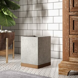 Read Reviews Stonington Concrete Stone/Wooden Wastebasket ByGreyleigh
