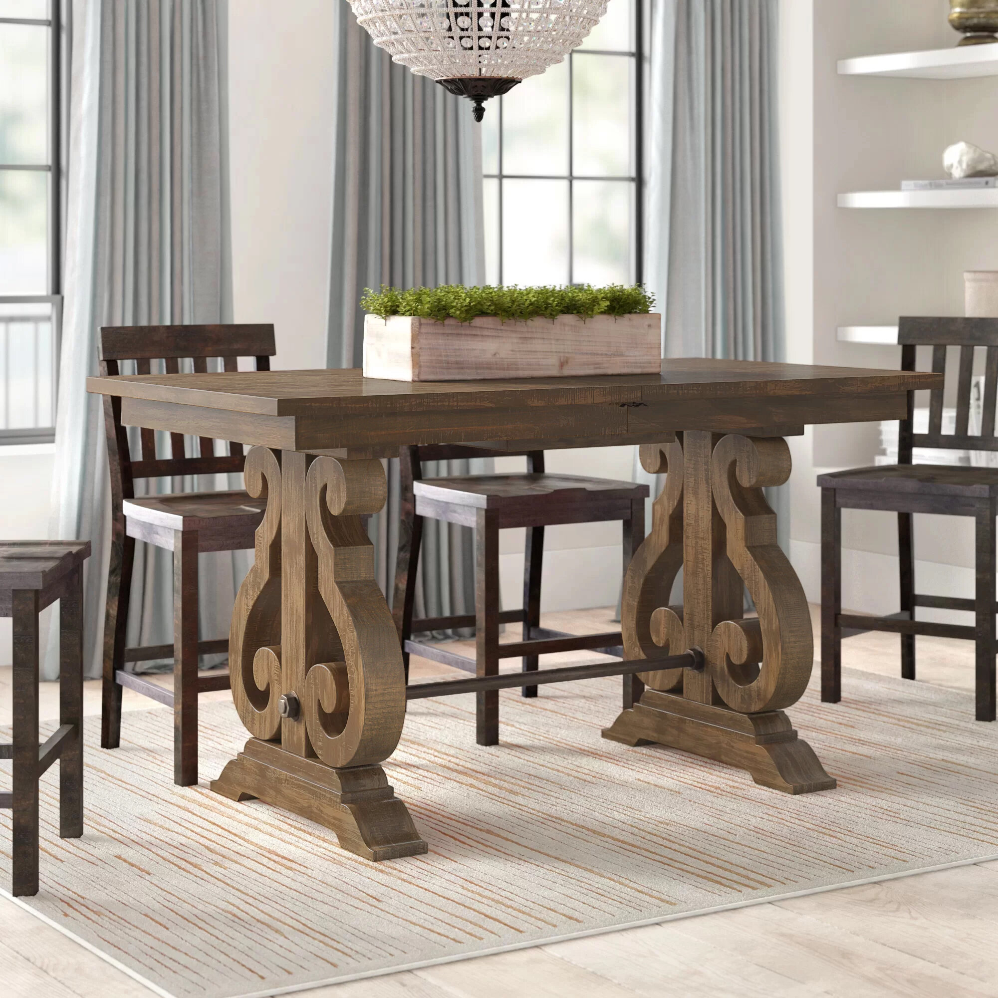 Picture of: Greyleigh Filkins Counter Height Extendable Dining Table Reviews Wayfair