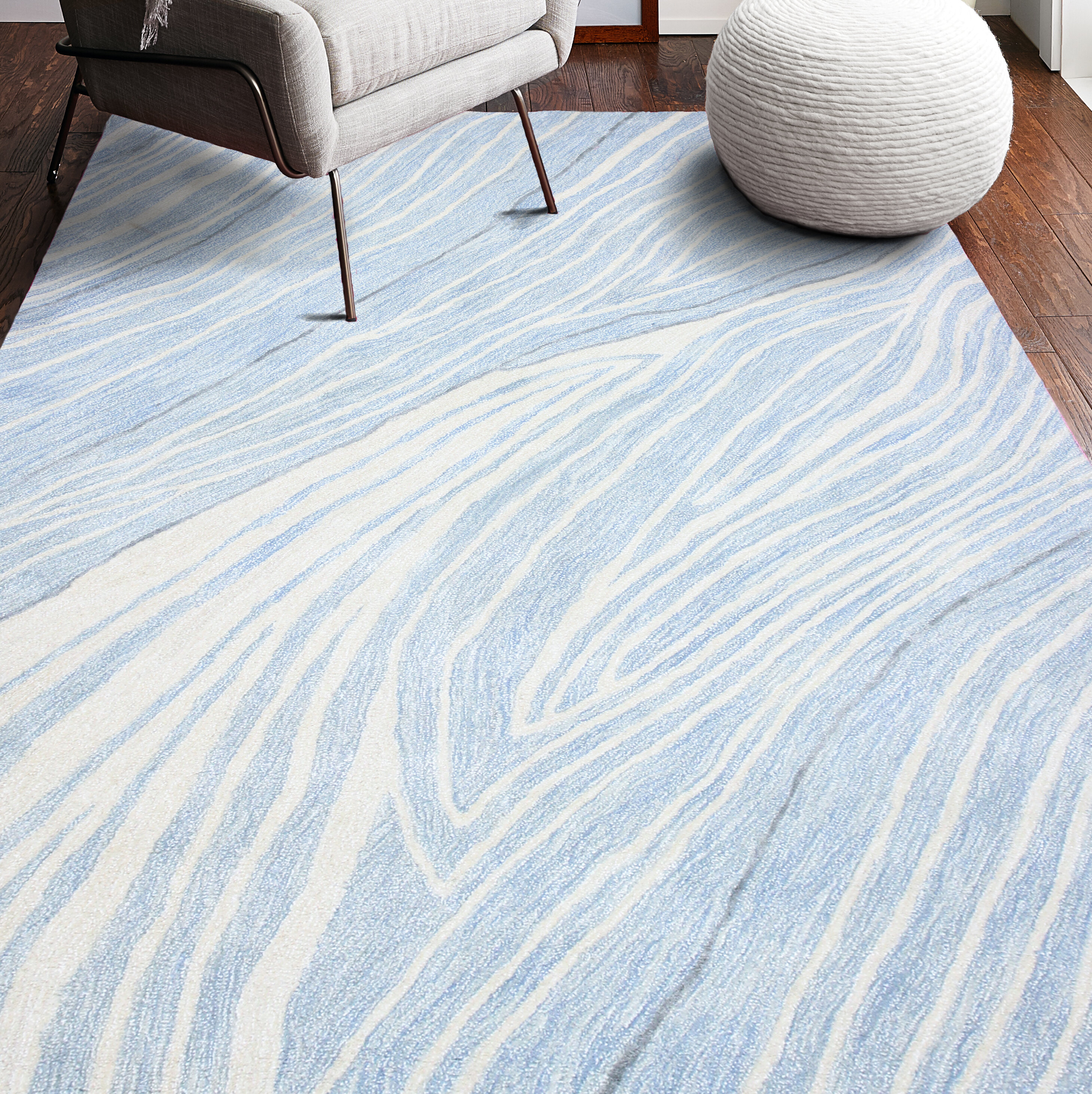 Ebern Designs Mcdiarmid Artsilk Hand Tufted Light Blue Area Rug Reviews Wayfair