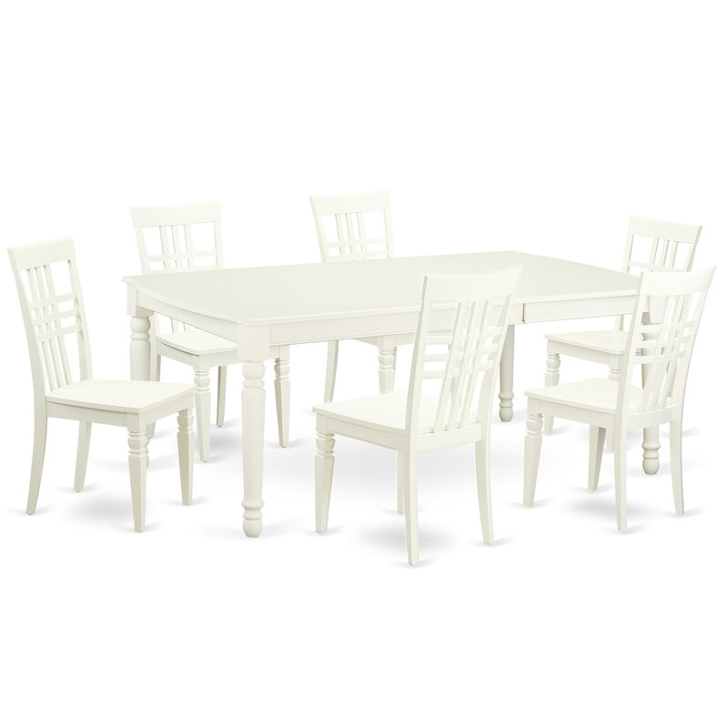 7 Piece Dining Set In Linen White