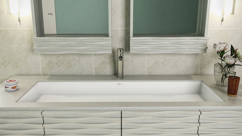 DECOLAV Sacha Solid Surface Plastic Rectangular Undermount Bathroom ...