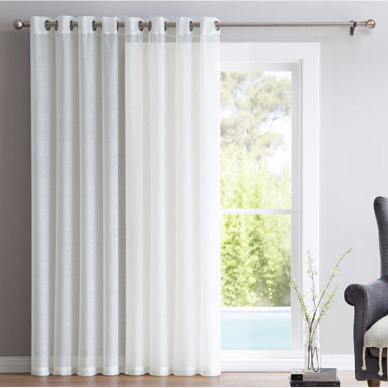 Nice Pamperin Patio Door Solid Sheer Grommet Single Curtain Panel
