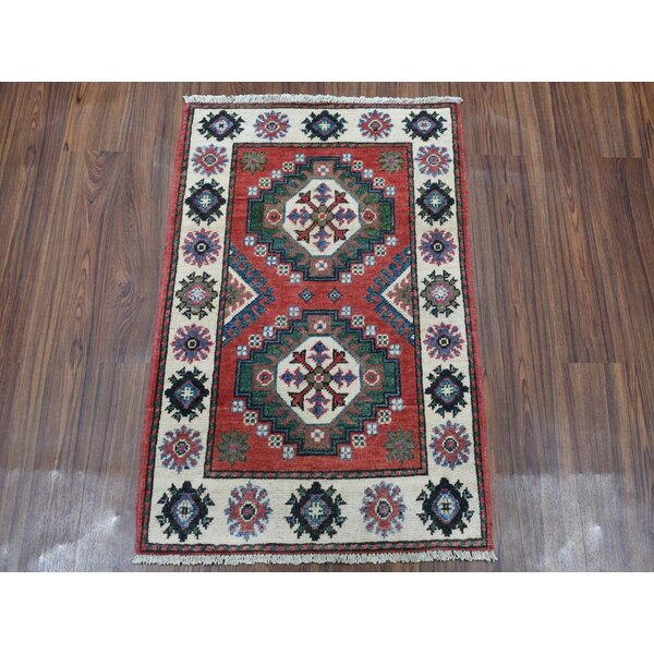 Canora Grey One Of A Kind Trevion Hand Knotted Kazak Red 2 1 X 3 Wool Area Rug Wayfair