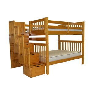 Bedz King Stairway Full over Full Bunk Bed with Storage