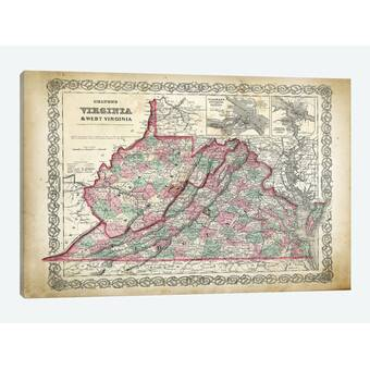 Winston Porter Flags West Virginia Map Graphic Art On Wrapped Canvas Wayfair