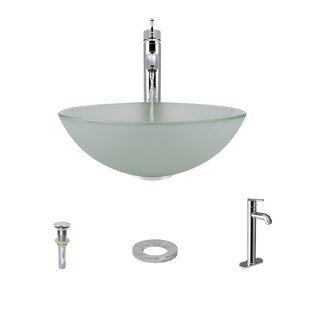 Top Glass Circular Vessel Bathroom Sink with Faucet ByMR Direct