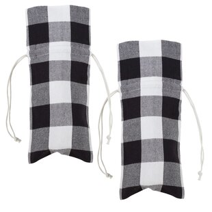 Buffalo Plaid Patterned Wine Gift Bag Carrier (Set of 2)