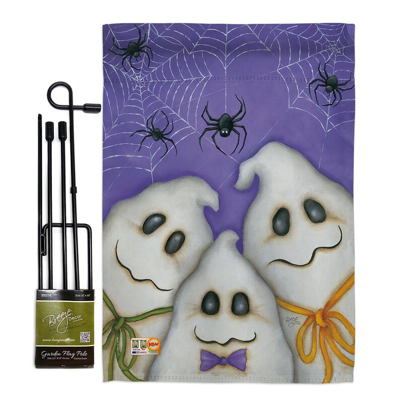 Breeze Decor 3 Ghosts Fall Halloween Impressions Decorative 2 Sided Polyester 18 5 X 13 In Flag Set Wayfair