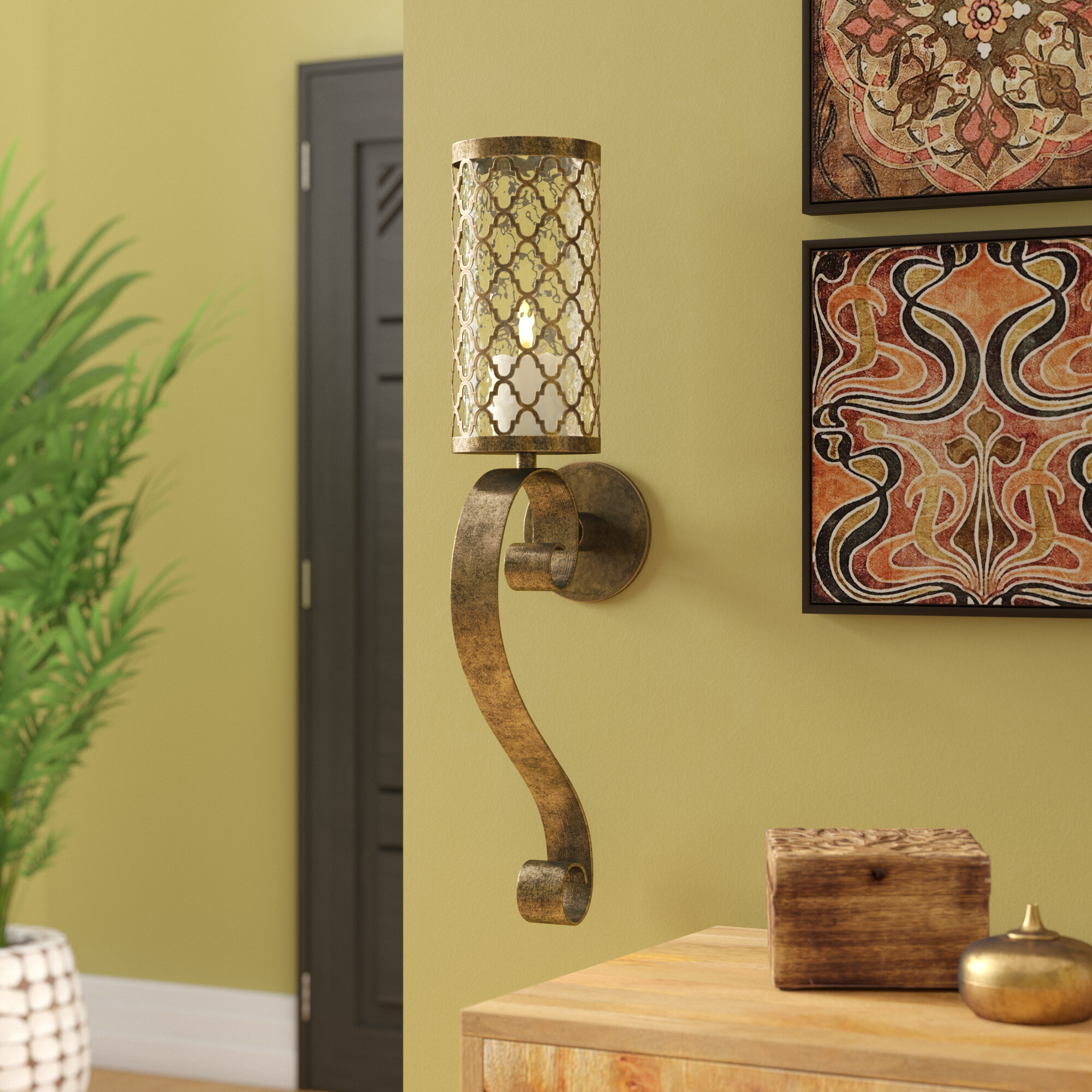 World Menagerie Iron and Glass Sconce & Reviews   Wayfair
