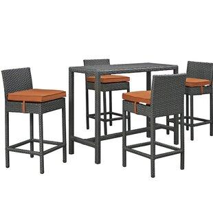 Brayden Studio Tripp 5 Piece Bar Height Dining Set with Cushion