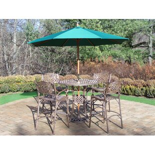 Astoria Grand Thelma 5 Piece Bar Height Dining Set with Umbrella