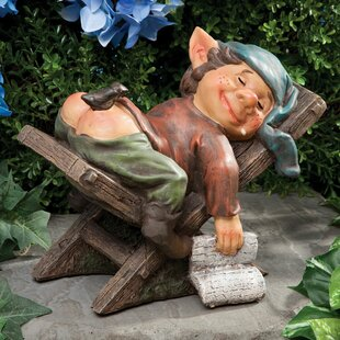 Olton Lazy Elf On Chair Sleeping Gnome Polyresin Statue By Red Barrel Studio