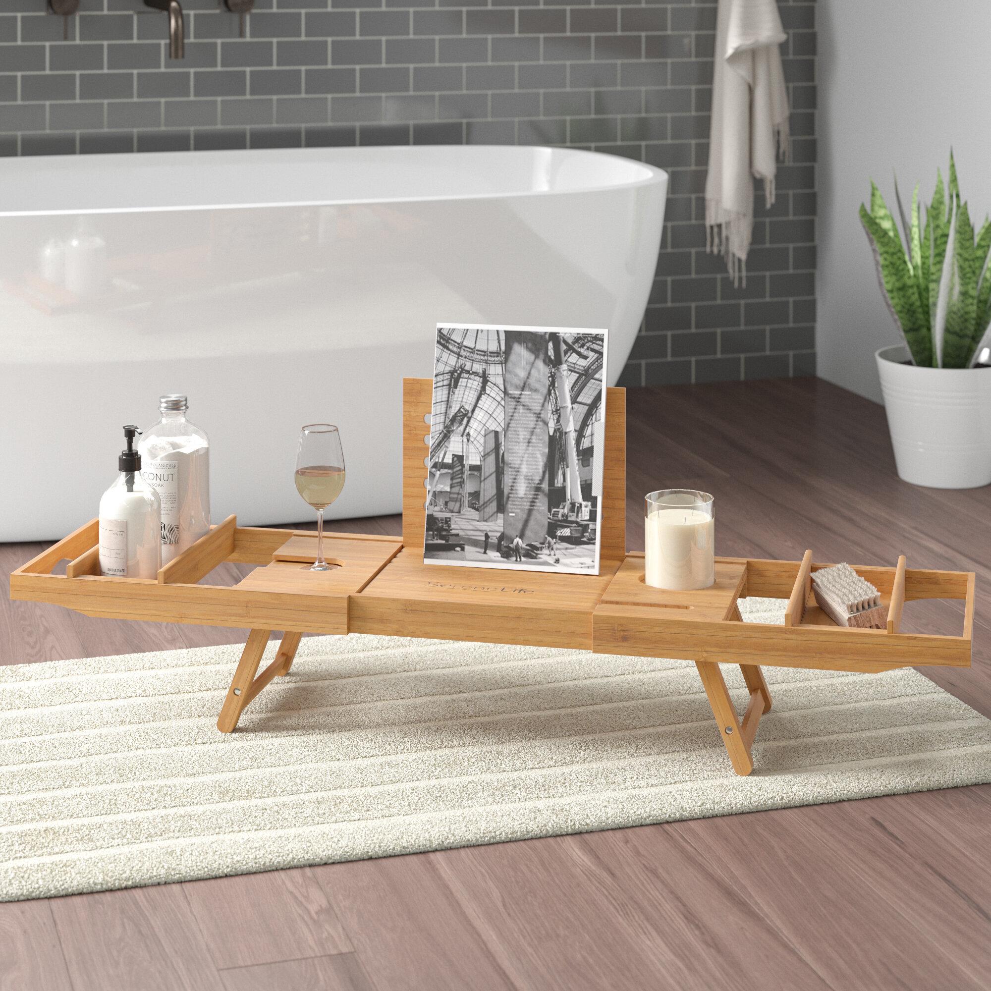 Ebern Designs Beliveau Bamboo Bathtub Caddy Tray Reviews Wayfair
