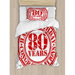 80th Birthday Decorations Happy Print Stamp Icon For 80 Years Old Image Duvet Set