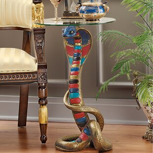 Find a Renenutet Egyptian Cobra Goddess Glass Topped End Table By Design Toscano
