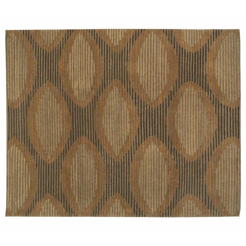 Tufenkian Geometric Hand Knotted Wool Brown Orange Yellow Area Rug Wayfair