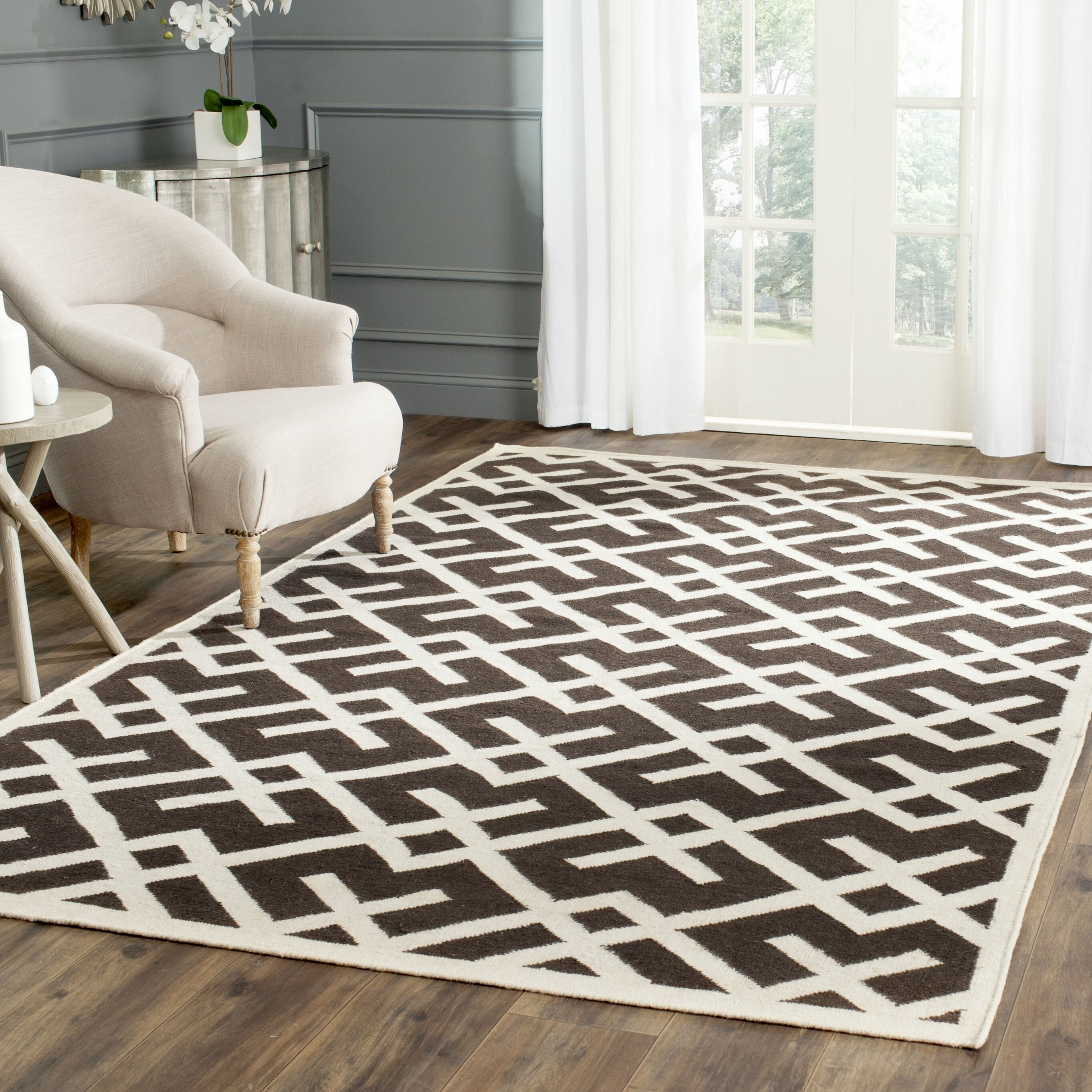 George Oliver Fung Handwoven Flatweave Wool Brown Ivory Area Rug Reviews Wayfair