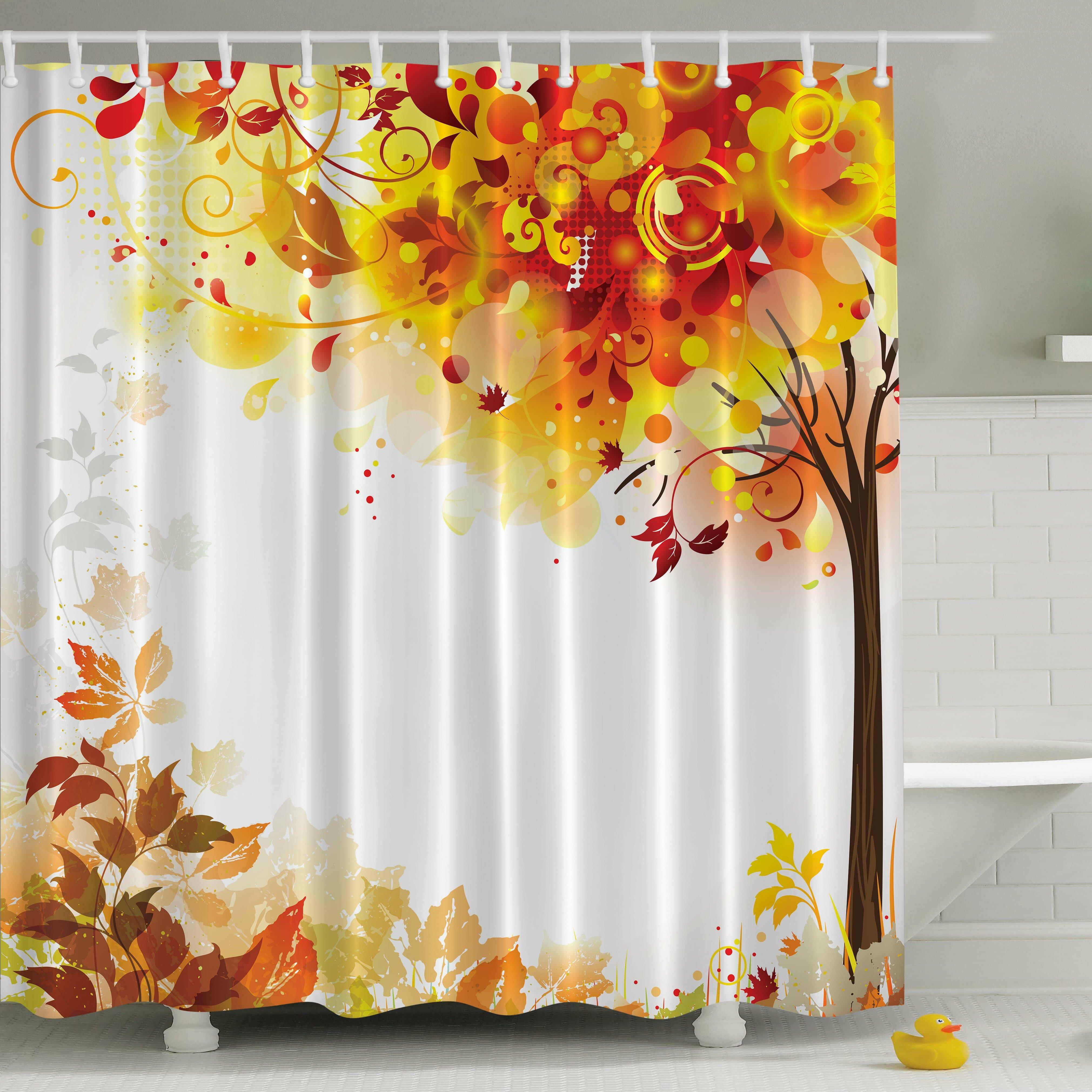 East Urban Home Fall Leaves Print Single Shower Curtain Reviews Wayfair