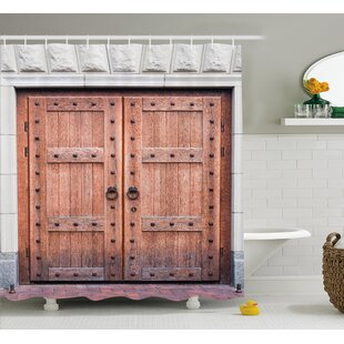 Rustic Antique French Wood Door Single Shower Curtain