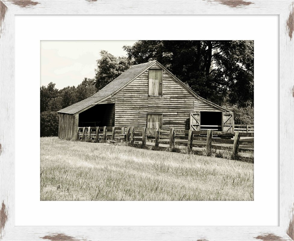 Black White Barn Framed Giclee Print