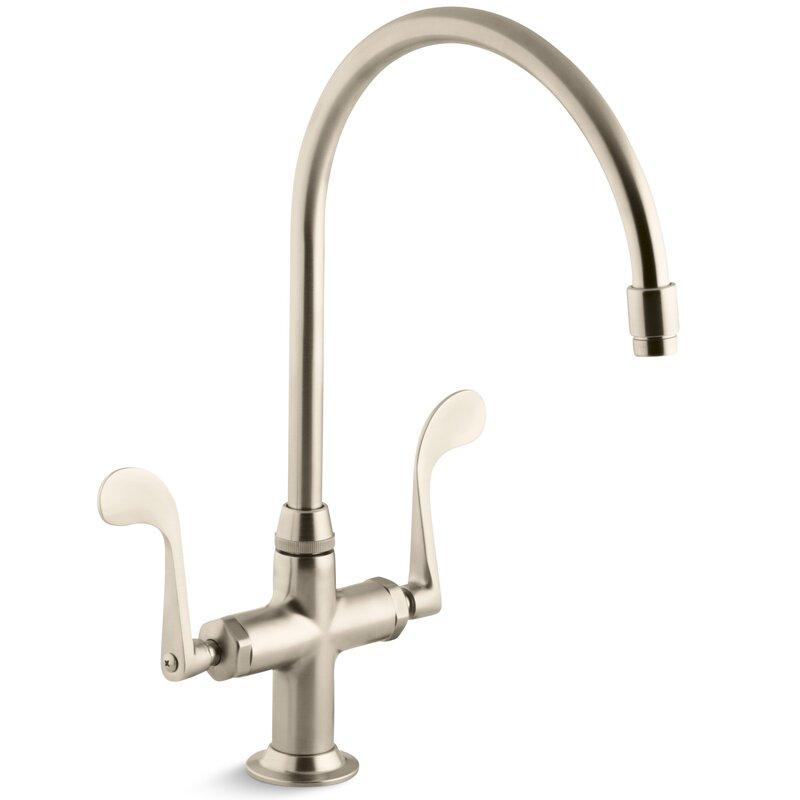"kohler essex single-hole kitchen sink faucet with 9"" gooseneck"