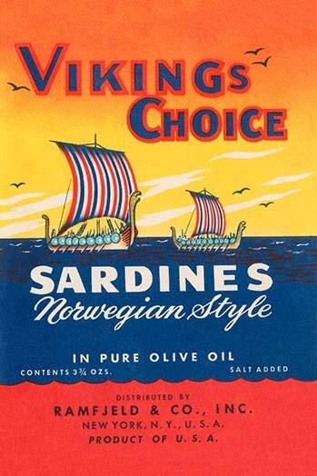 'Vikings Choise Sardines' Vintage Advertisement