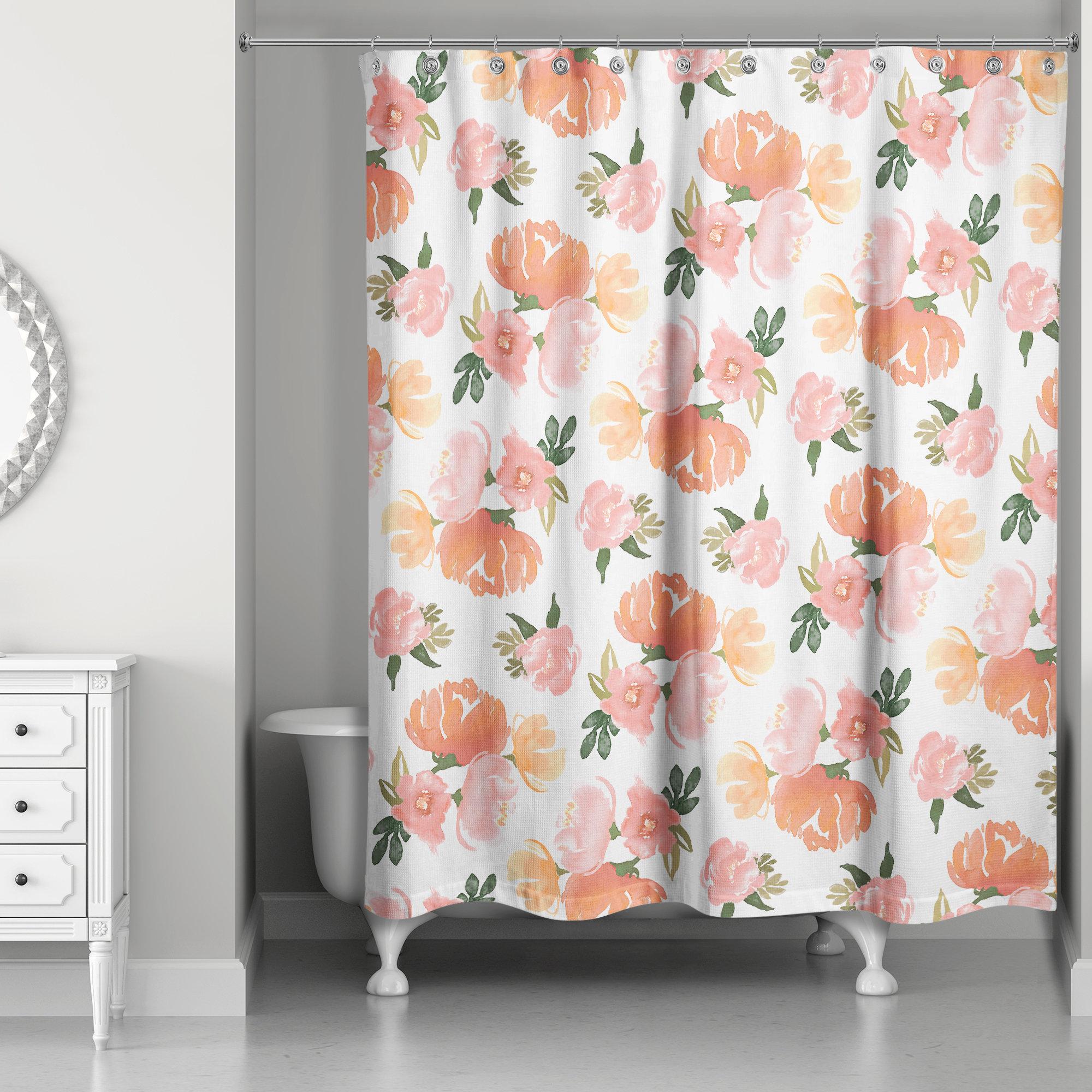 Ophelia Co Serena Summer Watercolor Florals Single Shower Curtain Wayfair
