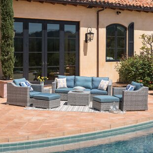 Bowser 9 Piece Rattan Sofa Seating Group with Cushions