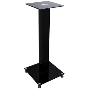 Glass and Wood Bookshelf 24 Fixed Height Speaker Stand Set of 2